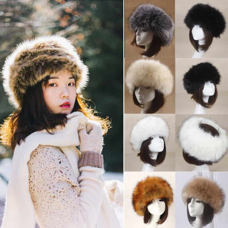 Russian Women Thick Fluffy Cap Fake Fur Headband Hat Winter Ear Warmer Ski Hat 2019 Fashion Winter