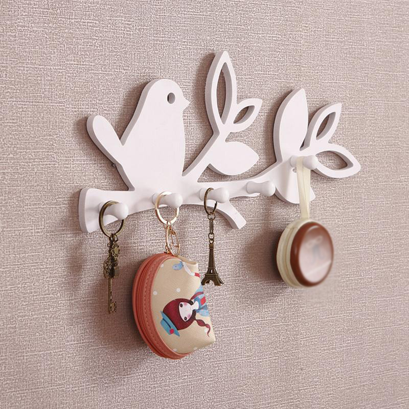 White Bird Style Wall Hanger Cloths Hooks Storage Rack Home Decoration For Living Room Children's Room