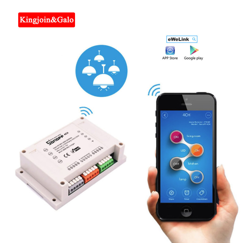 For 4 Light Z-wave Sonoff Wifi Relay Module Chip Wifi Remote Control Wireless Home Smart Timer Switch Control By Ios Android