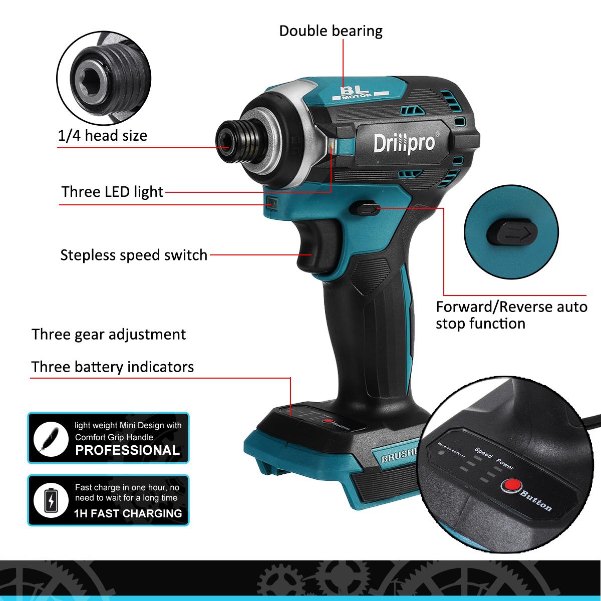 3 Screwdriver Battery Brushless Speed Drill Electric For Rechargable Driver Cordless Light 18V Wrench LED Impact Makita