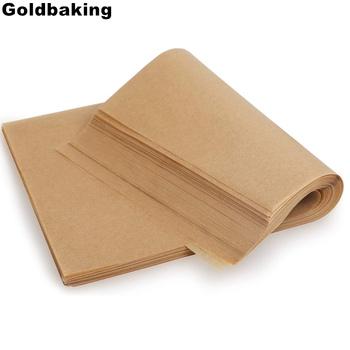 100 sztuk pergamin arkusze do pieczenia non-stick Precut nadaje się do pieczenia grillowanie beztłuszczowa frytownica gotowanie na parze Cookie jednorazowe maty tanie i dobre opinie Goldbaking CN (pochodzenie) perchman Na stanie Ekologiczne Brown Parchment Paper Parchment Paper Sheet Baking Sheet Cookie Sheet