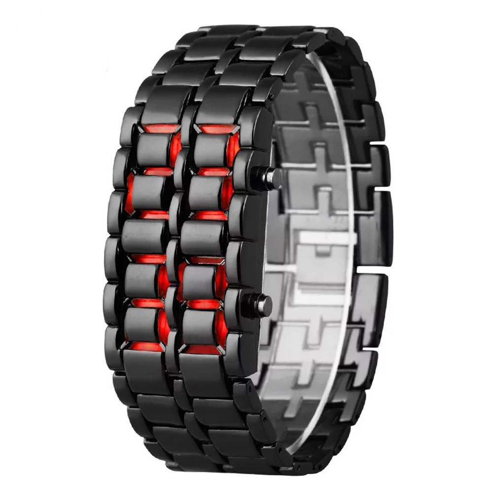 Fashion Men Watch Mens Watches Full Metal Digital Wrist Watch Red LED Samurai For Men Boy Sport Simple Watches Relogio Masculino