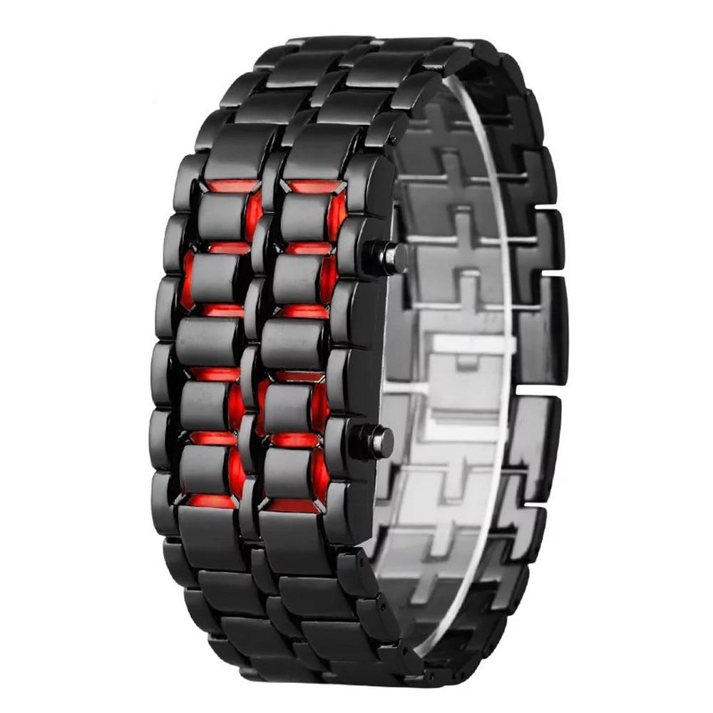 Fashion Men Watch Mens Watches Full Metal Digital Wrist Watch Red LED Samurai For Men Boy Sport Simple Watches Relogio Masculino