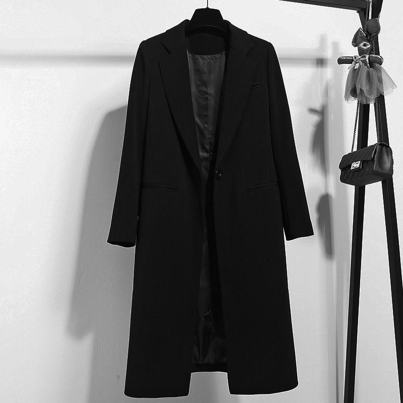 Spring Autumn New OL Long Blazer Women 2019 Slim Jacket Women Work Office Single Button Blazer Feminino Mujer Black Blazer