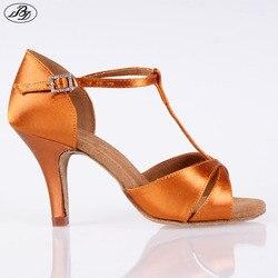 Gran oferta zapatos de baile latino BD para mujeres 2358 sandalias de satén para damas zapatos de baile latino de tacón alto suela suave T bar interior