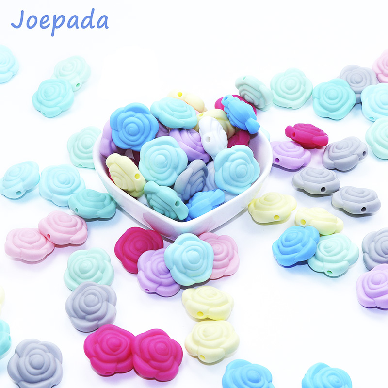 Joepada Wholesale 100Pcs Mini Rose Baby Chewing Silicone Beads DIY Pacifier Pendant Teething Necklace Toy Flower Baby Teether