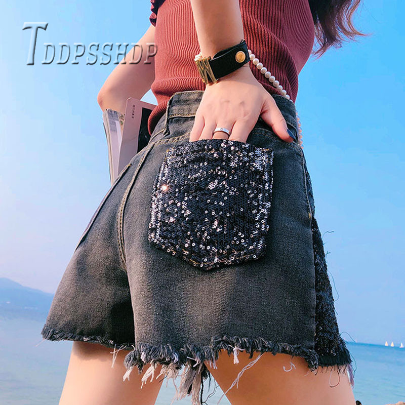 2019 Plus Size Fat MM Women Shorts Slim High Waist Summer Wide Leg Female Shorts