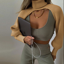 2021 Fashion New Women Turtleneck Collar Long Sleeve Knitting Sweater Femme Chic Design Casual Pullovers Spring Ladies Tops