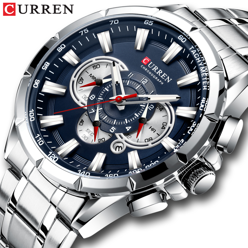 CURREN New Sport Casual Chronograph Men's Watch Stainless Steel Bracelet Wristwatch Large Dial Quartz Watches With Luminous Poin