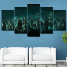 Living Room Wall Art HD Printed Pictures Frame 5 Piece/Pcs EBioshock Rapture Night View Modern Home Decor Canvas Painting Poster
