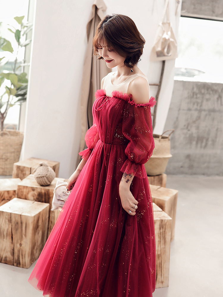Sexy Evening Dress Bling Stars Formal Dresses Women Elegant Wine Red Boat Neck Lace Up Tulle Long Party Gown Size S-XXL