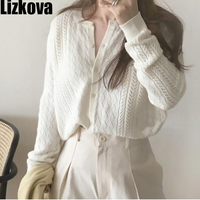 2019 Autumn White Hollow Out Texture Cardigan Solid Color Thin Sweater Cardigan Casual Wear