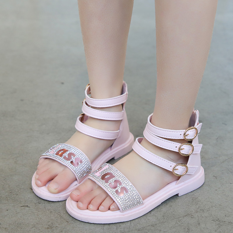 SKHEK Girls Summer Sandals Kid Gladiator Shoes Children Roman Sandals With Rhinestone Bling Big Girl Beach Shoes Crystal