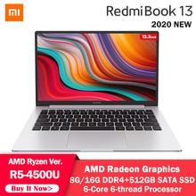 Xiaomi RedmiBook 13 Laptop AMD Ryzen 5 4500U 8G /16G DDR4 512G SSD Six Core 13.3inch Notebook Computer 1080P Windows10 Laptop