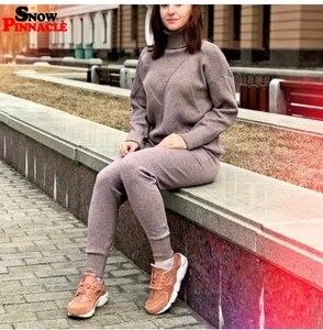 Image 2 - Женский трикотажный комплект из 2 предметов, трикотажный пуловер с высоким воротником и длинные штаны, спортивный костюм на осень и зиму