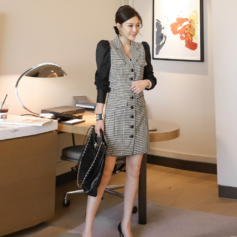 2020 Autumn Puff long Sleeve Single Breasted Notched Slim Women's Outerwear Casual Plaid Office Blazer Coat