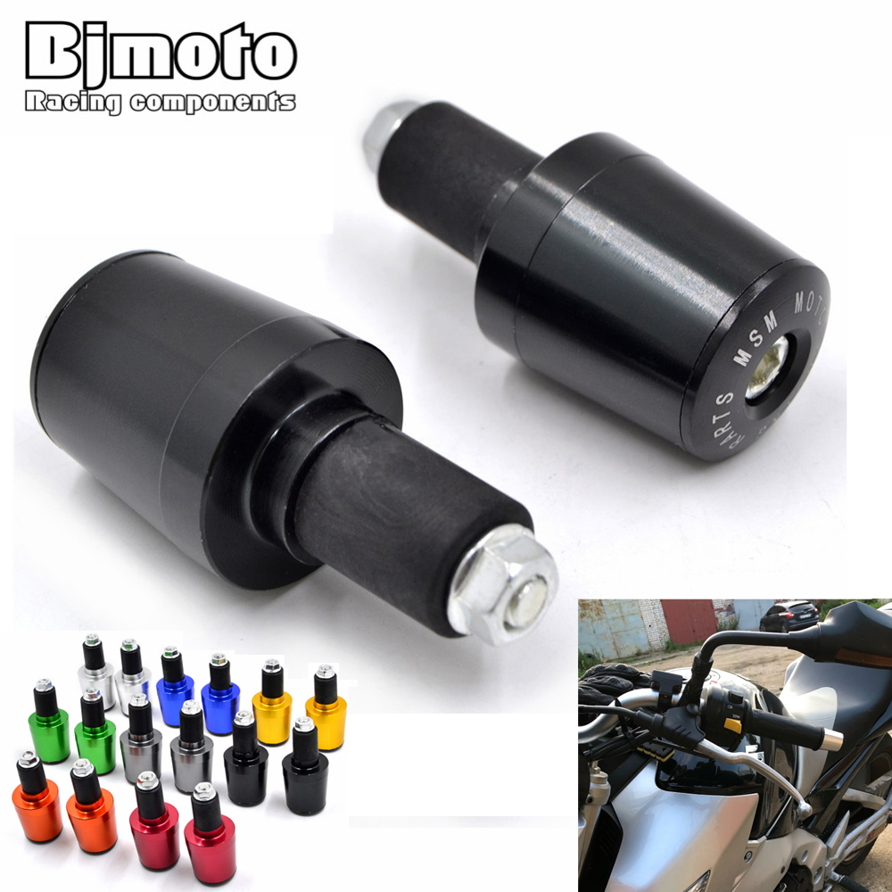 "Motorcycle Sliver 7//8/"" Handlebar CNC End Cap Rubber Hand Grips for Honda Yamaha"