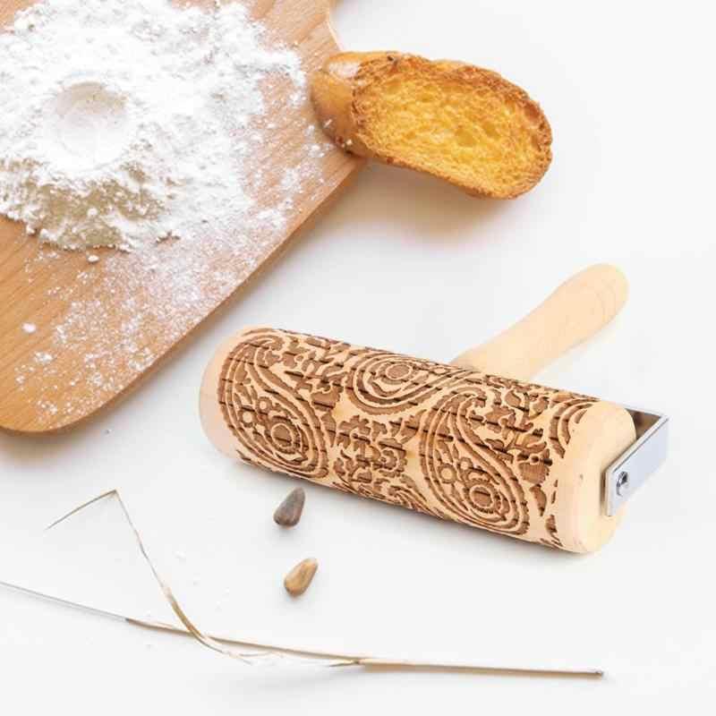 Di natale di Rotolamento Spille Laser di Legno Goffratura di Rolling Spille Pasta Bastone Inciso Rullo FAI DA TE di Cottura della Pasticceria Strumento di Decorazione Di Natale