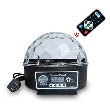 Bola mágica de cristal Led 9 colores, 27W, lámpara de escenario, 21 modos, Luz Láser De discoteca, luces de fiesta, sonido