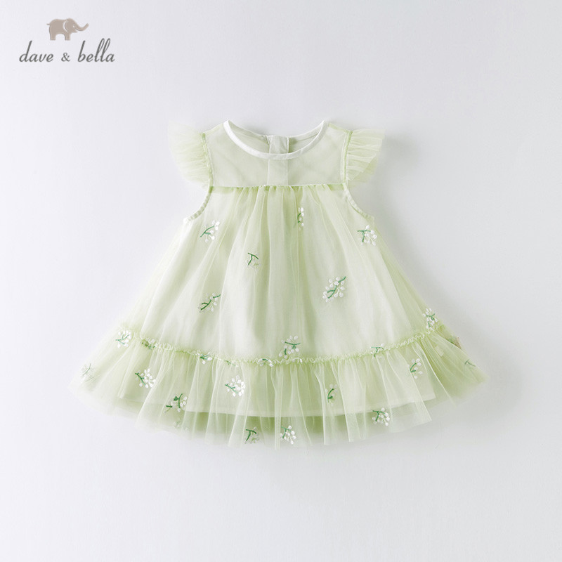 DBZ14055 Dave Bella Summer Baby Girl's Cute Floral Embroidery Mesh Dress Children Fashion Party Dress Kids Infant Lolita Clothes