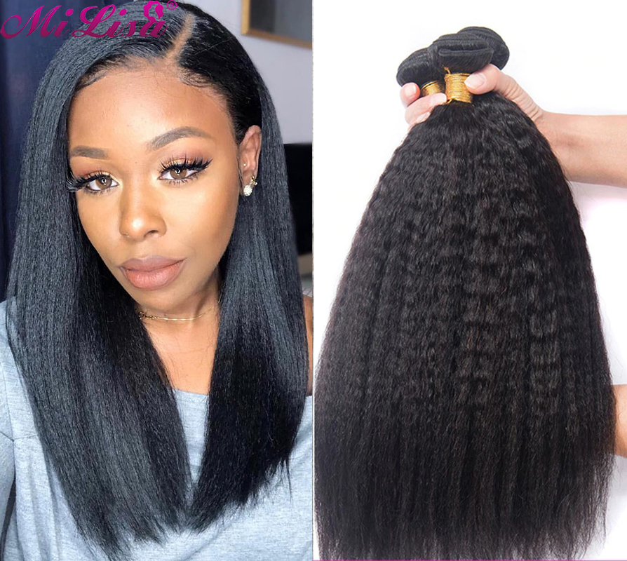 Курчавые прямые пряди Mi Lisa 100% пряди человеческих волос для черных женщин, 3 пряди, прямые человеческие волосы Yaki, наращивание волос без повре...