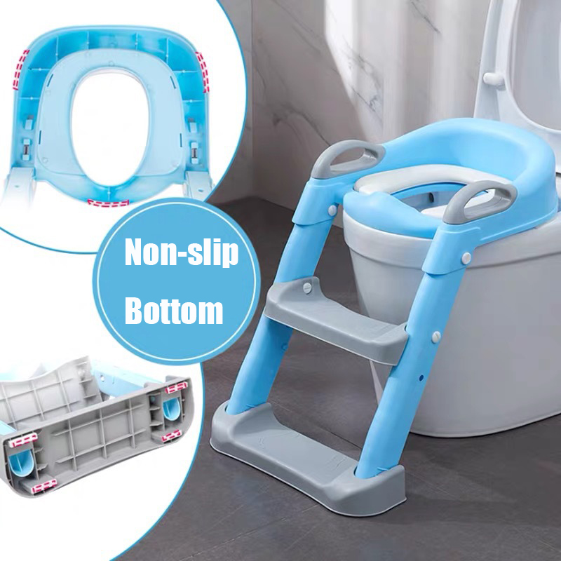 Folding Infant Potty Seat Urinal Backrest Training Chair with Step Stool Ladder for Baby Toddlers Boys Girls Safe Toilet Potties 4