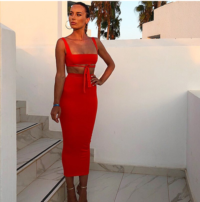 2019 Fashion Women Hollow Out Sexy Dress Clubwear Belt Bodycon Dress Summer Solid Square Neck Maxi Dress in Dresses from Women 39 s Clothing