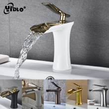 цена на 6 Colors Bathroom Waterfall Faucet Quality Mixer Tap Single Handle Brass Basin Faucet Deck Mounted Basin Sink Mixer Tap C26