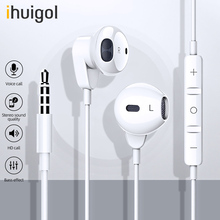 ihuigol HIFI Earphone 3.5mm Jack Headphone For iPhone 6 5 Xiaomi Huawei HandsFree Headsets With Microphone Wired Control Earbuds accezz 3 5mm jack in ear earphone for iphone 5 6 ipad xiaomi samsung universal hifi sport earbuds wired control with microphone
