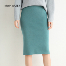 Knitted Skirts Dress Short Knee-Length Office MOINWATER Women Lady Female Solid New