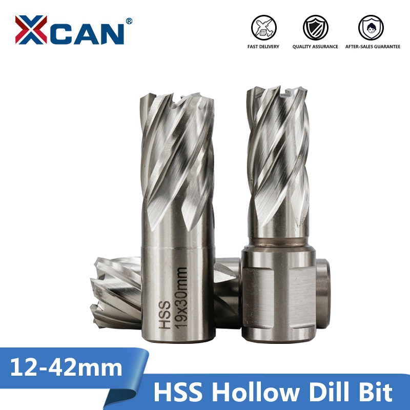 XCAN 1pc 12-42mm High Speed Steel Metal Core Drill Bit Annular Cutter Hollow Drill Bit Hole Opener Metal Drilling Tools