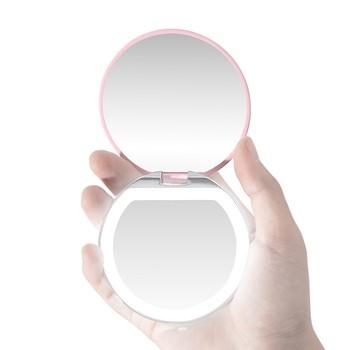 Lusterko do makijażu kieszonkowe LED oświetlone lusterko do makijażu podróży 1x 3x powiększenie lusterko do makijażu lusterko do makijażu ze światłami Travel Oct tanie i dobre opinie Wyposażone Make up mirror Podświetlany make up mirror girl make up mirror with lights led makeup Cosmetic Mirror intelligent makeup mirror
