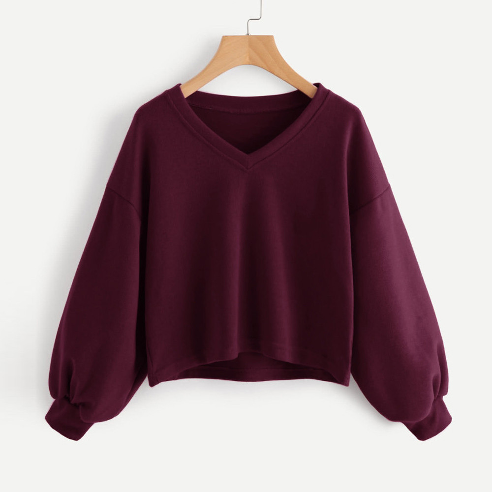 Jaycosin Fashion Women Solid Casual V-neck Lantern Sleeve Sweatshirt Casual Cool Chic New Look Hooded Pullover Tops Blouse 17