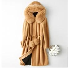 Autumn Winter Faux Fur Coat Female Long Sleeve Pockets Ball Drawstring High Waist Imitation Fox Fur Trim Hooded Outerwear Women