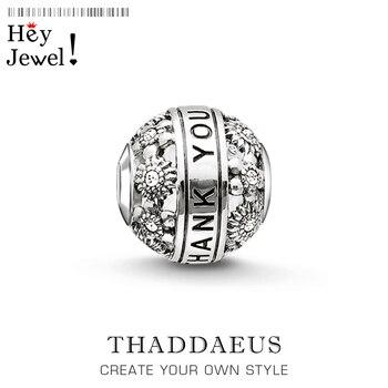 Cuentas gracias, plata y cuentas de diamantes de imitación se adapta a la pulsera joyería Thomas regalo de Acción de Gracias para mujeres y hombres