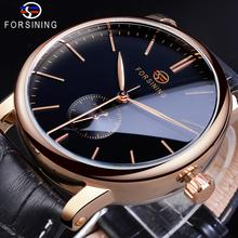цена на Forsining Casual Automatic Mechanical Watch Men's Sub Dial Black Slim Simple Black Genuine Leather Strap Wristwatch Montre Homme