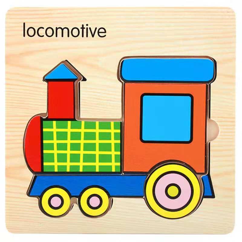 3D деревянные головоломки, игрушки для детей, Деревянные 3d Мультяшные головоломки с животными, интеллектуальные детские развивающие игрушки для детей - Цвет: Шампанское