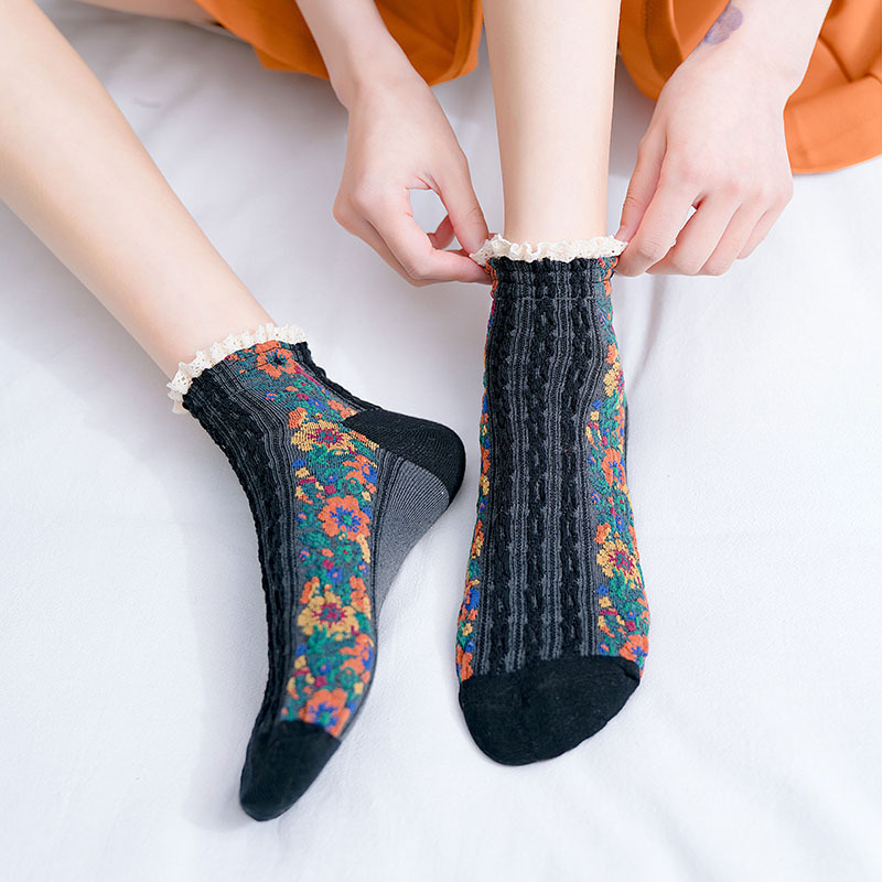 National Women Socks Casual Breathable Elasticity Comfortable Cotton Socks 2020 New Fashion Printed Floral Funny Socks Female
