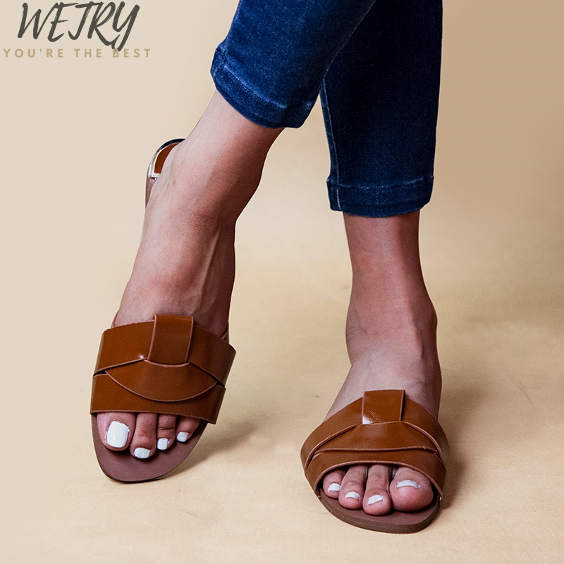 IN 2020 Comfort PU Leather Outside Summer Slides Retro Women Slippers Flat With Slip-on Slides Beach Women Shoes