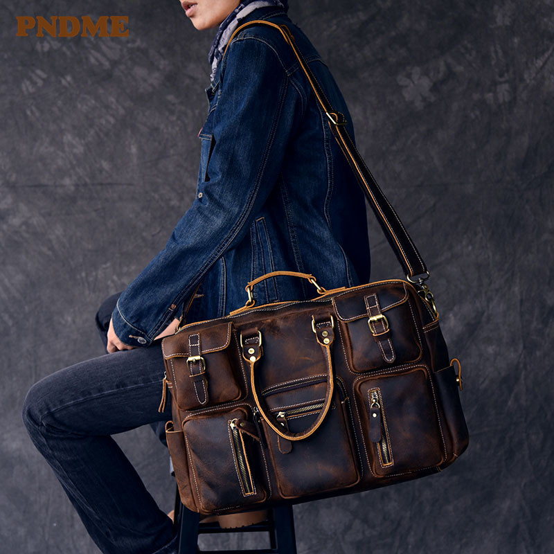 PNDME Vintage Business Cowhide Men's Briefcase Genuine Leather Multi-pocket Large Capacity Travel Laptop Shoulder Messenger Bag