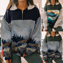40# Winter Hoodie Fashion Women Half Zipper Patchwork Mountain Peak Treetop Print Sweatshirt Top Elegant Stand Collar Pullovers