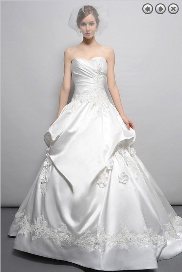 Free Shipping Flowers 2016 Designer New Bridal Gown Brides Long Plus Size Appliques Sweetheart Sexy Elegant Wedding Dresses