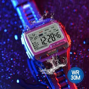 Image 2 - SYNOKE moda erkekler kare dijital saat aydınlık açık spor su geçirmez erkek izle LED ekran çok fonksiyonlu kol saati