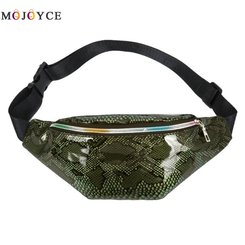 Women Fashion PU Leather Chest Fanny Pack Serpentine Pouch Casual Chest Bag Snake Print Money Female Waist Bag