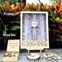 Libro de invitados de boda decoración de la boda libro de visitas de boda dulce rústico 120 Uds pequeños corazones de madera