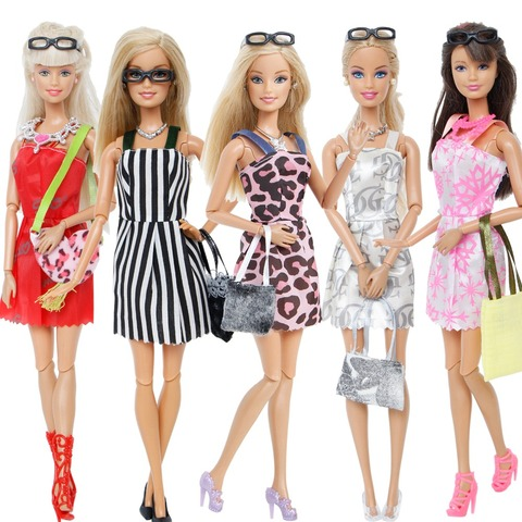 Random 1 Set Doll Accessories for Barbie Doll Shoes Boots Mini Dress Handbags Crown Hangers Glasses Doll Clothes Kids Toy 12 Lahore