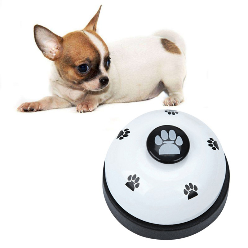 Hot!!! Pet Call Bell Dog Ball-Shape Paws Printed Meal Feeding Educational Toy Puppy Interactive Training Tool Home Pet Supplies-1