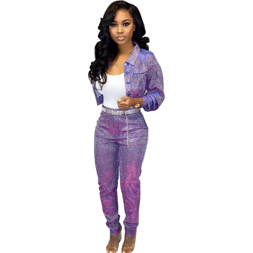 Sequin Glitter 2 Piece Set Women's Suit Single-breasted Jacket Top And Long Pants Sexy Club Outfits Matching Sets Ensemble Femme