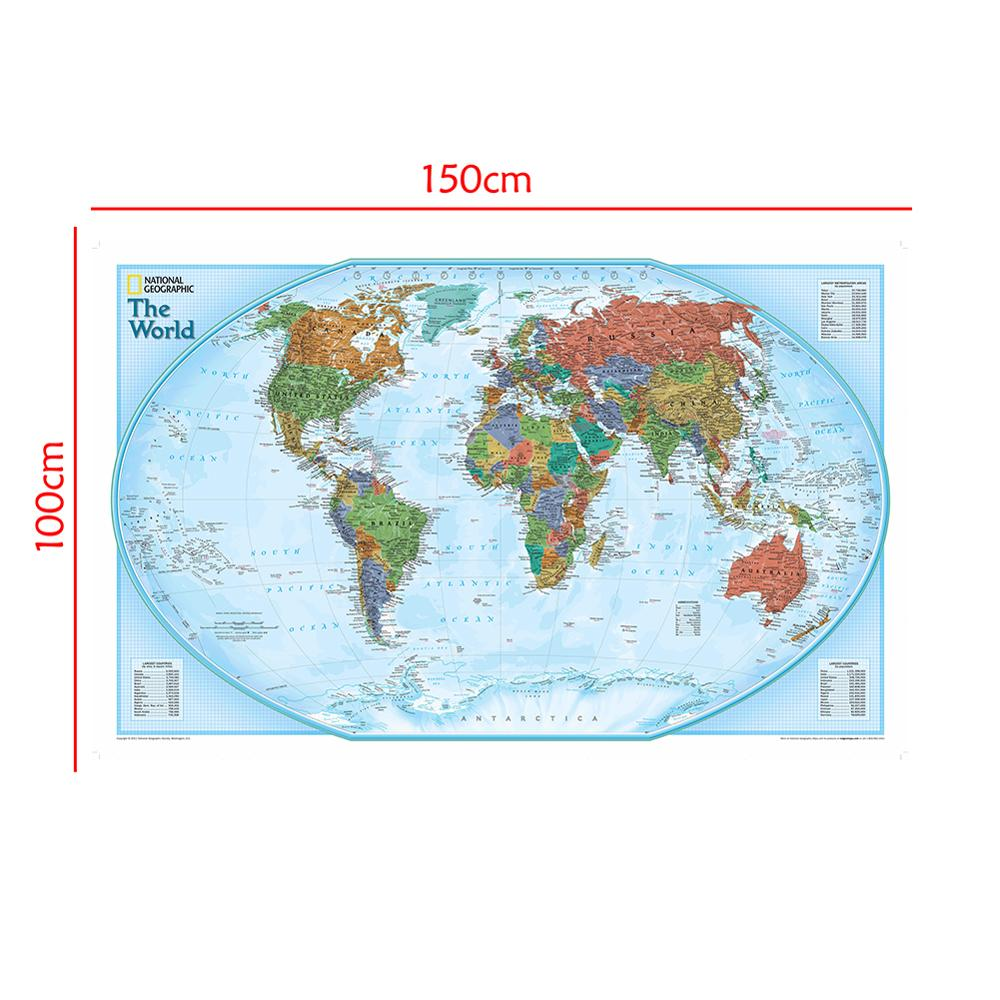 150x100cm The World Map Non-woven Waterproof Map Without National Flag For Beginner