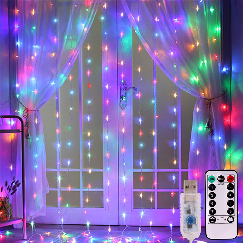 LED Curtain Lights With Remote 8 Settings USB Christmas Wedding New Year's Garland LED Lights Decoration For Party Home Outdoor